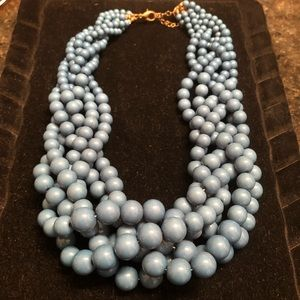 Teal braided beads statement necklace